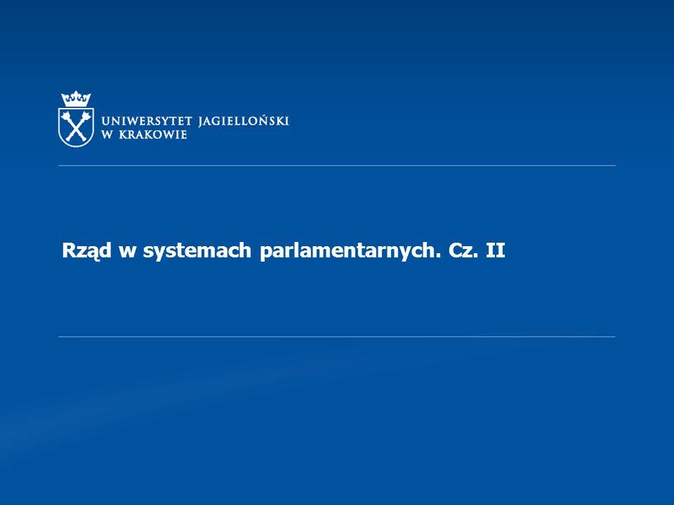 Rząd w systemach parlamentarnych. Cz. II