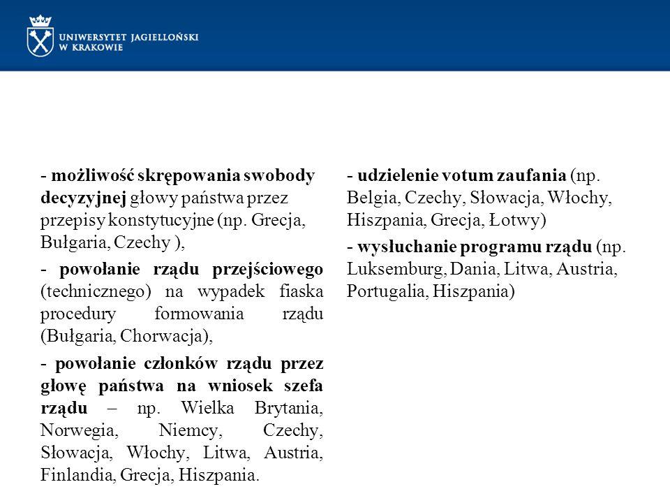 - możliwość skrępowania swobody decyzyjnej głowy państwa przez przepisy konstytucyjne (np. Grecja, Bułgaria, Czechy ), - powołanie rządu przejściowego
