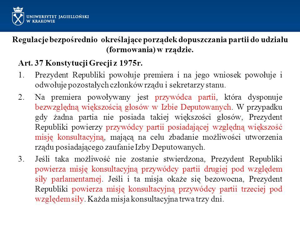 Regulacje bezpośrednio określające porządek dopuszczania partii do udziału (formowania) w rządzie. Art. 37 Konstytucji Grecji z 1975r. 1.Prezydent Rep