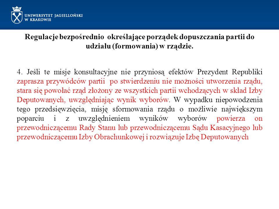 Regulacje bezpośrednio określające porządek dopuszczania partii do udziału (formowania) w rządzie. 4. Jeśli te misje konsultacyjne nie przyniosą efekt