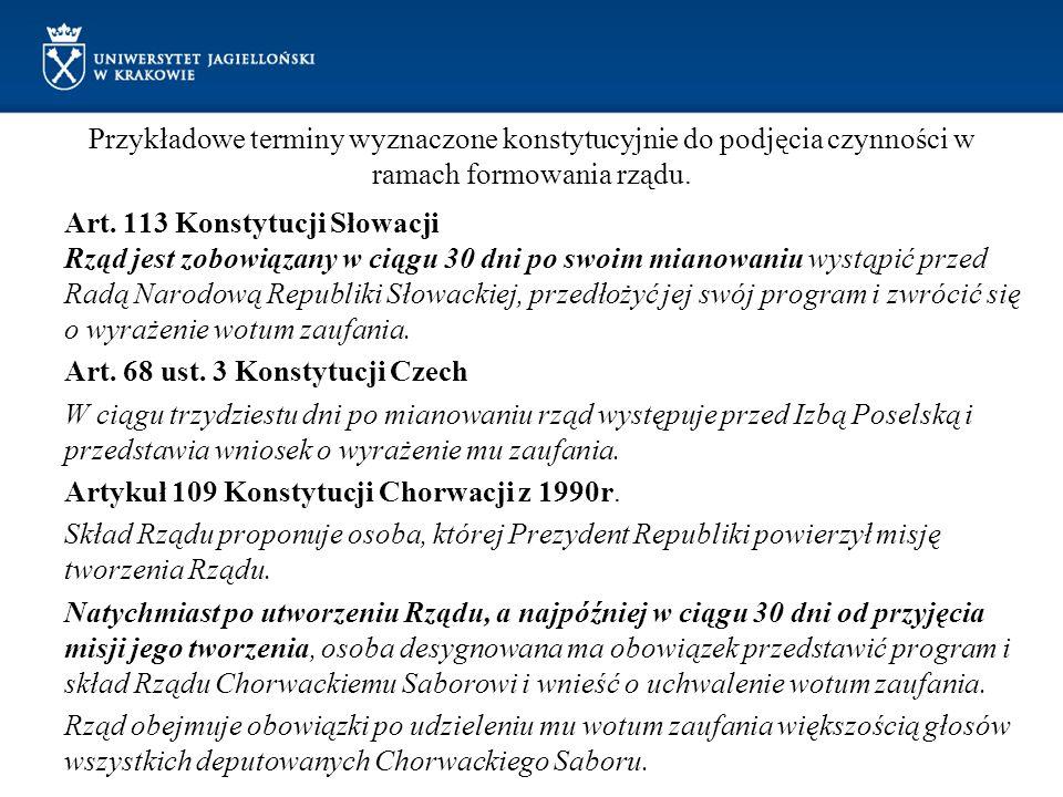 Przykładowe terminy wyznaczone konstytucyjnie do podjęcia czynności w ramach formowania rządu. Art. 113 Konstytucji Słowacji Rząd jest zobowiązany w c
