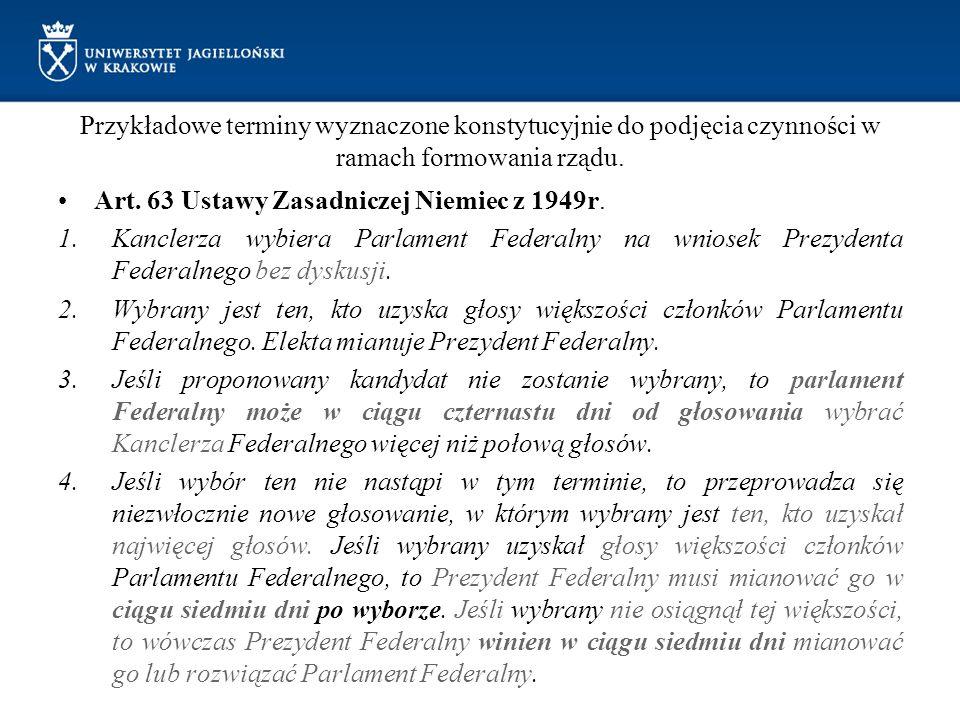 Przykładowe terminy wyznaczone konstytucyjnie do podjęcia czynności w ramach formowania rządu. Art. 63 Ustawy Zasadniczej Niemiec z 1949r. 1.Kanclerza