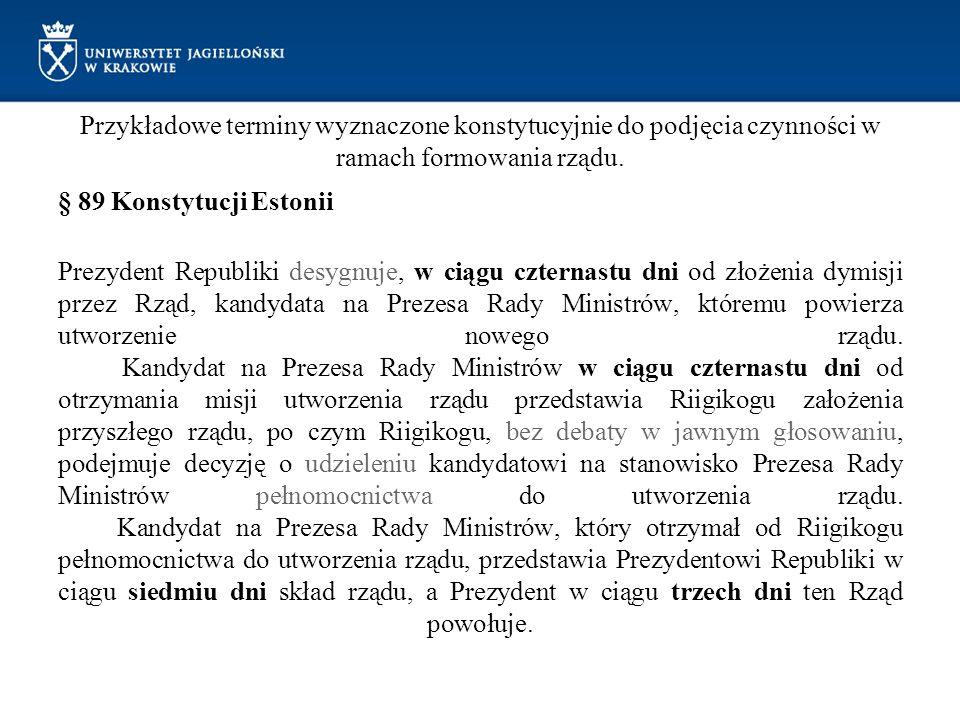 Przykładowe terminy wyznaczone konstytucyjnie do podjęcia czynności w ramach formowania rządu. § 89 Konstytucji Estonii Prezydent Republiki desygnuje,