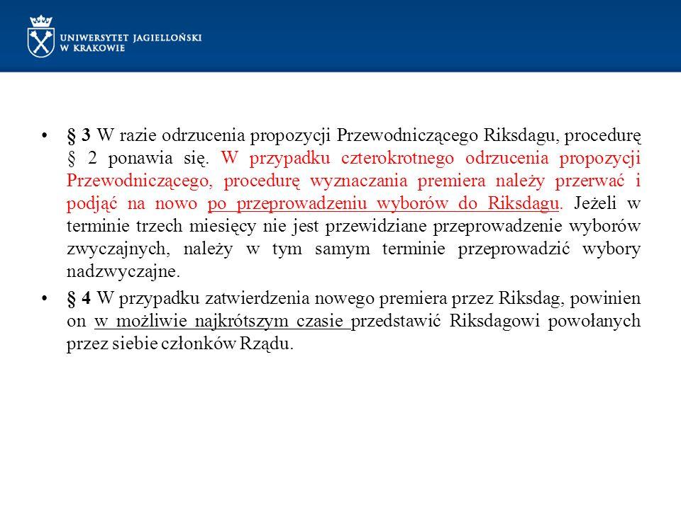 § 3 W razie odrzucenia propozycji Przewodniczącego Riksdagu, procedurę § 2 ponawia się. W przypadku czterokrotnego odrzucenia propozycji Przewodnicząc