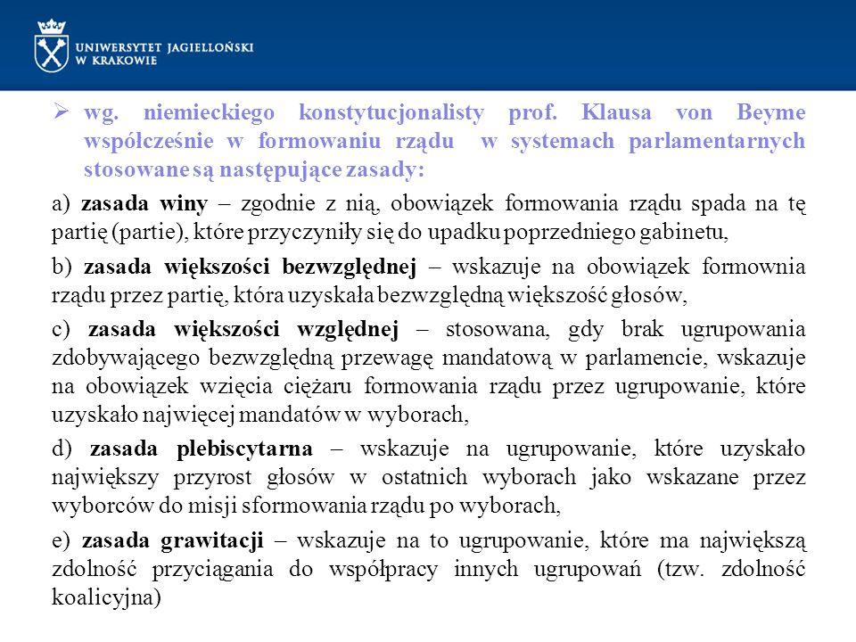  wg. niemieckiego konstytucjonalisty prof. Klausa von Beyme współcześnie w formowaniu rządu w systemach parlamentarnych stosowane są następujące zasa
