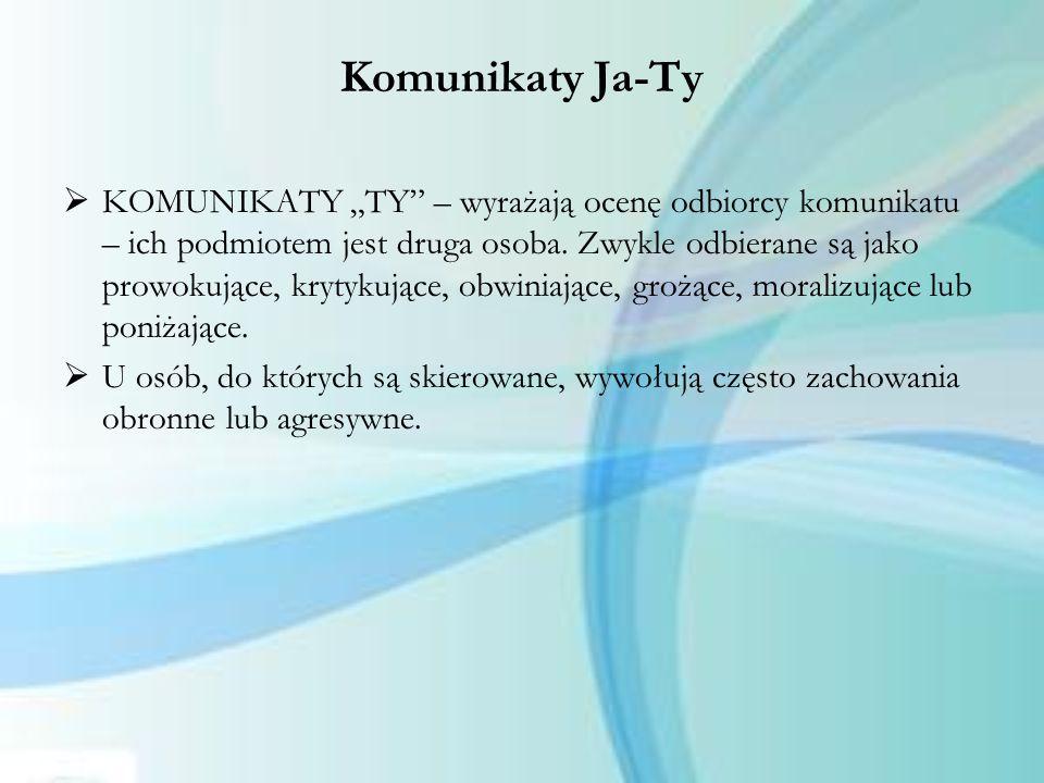 """Komunikaty Ja-Ty  KOMUNIKATY """"TY"""" – wyrażają ocenę odbiorcy komunikatu – ich podmiotem jest druga osoba. Zwykle odbierane są jako prowokujące, krytyk"""