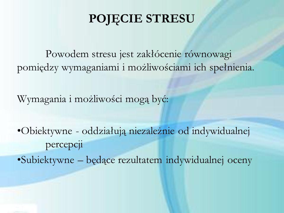 POJĘCIE STRESU Powodem stresu jest zakłócenie równowagi pomiędzy wymaganiami i możliwościami ich spełnienia. Wymagania i możliwości mogą być: Obiektyw
