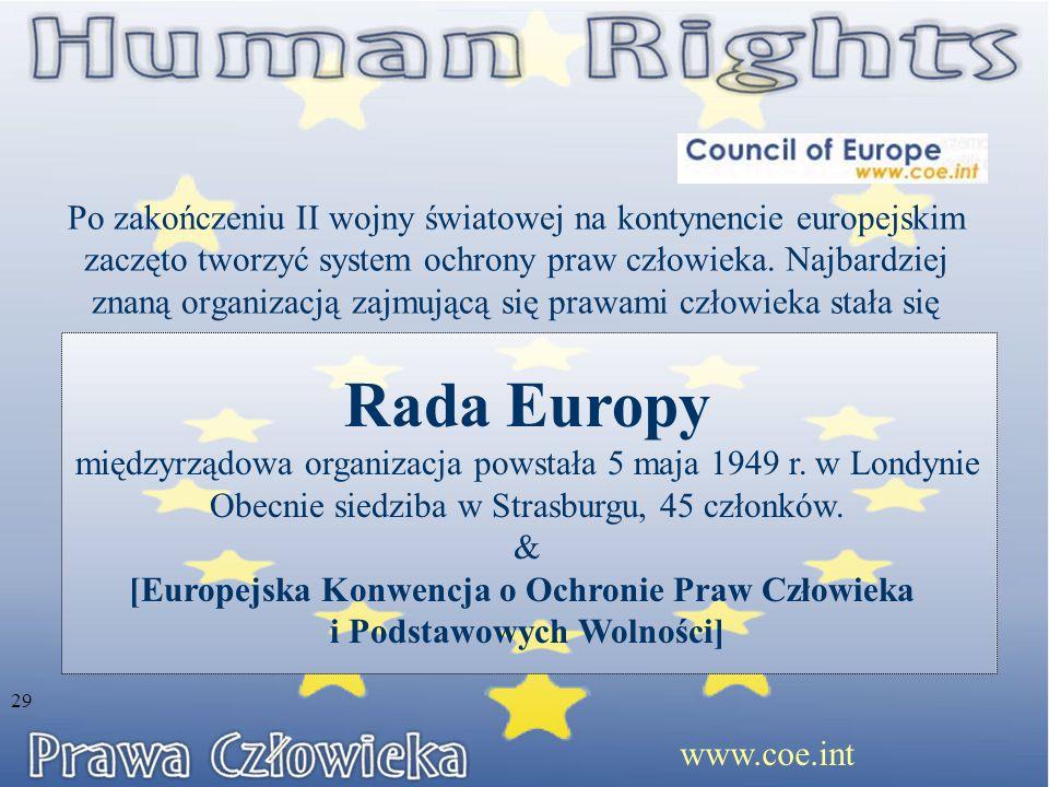 Po zakończeniu II wojny światowej na kontynencie europejskim zaczęto tworzyć system ochrony praw człowieka. Najbardziej znaną organizacją zajmującą si