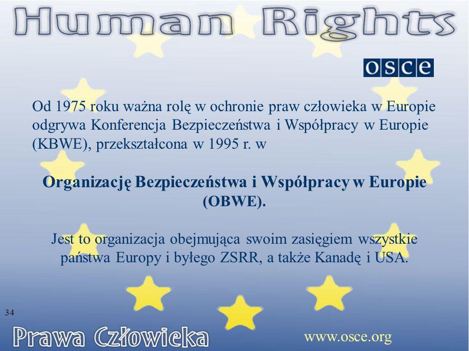 Od 1975 roku ważna rolę w ochronie praw człowieka w Europie odgrywa Konferencja Bezpieczeństwa i Współpracy w Europie (KBWE), przekształcona w 1995 r.