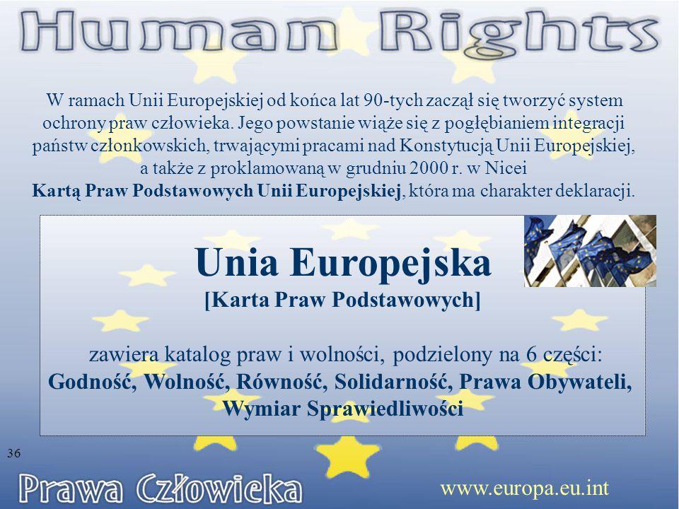 W ramach Unii Europejskiej od końca lat 90-tych zaczął się tworzyć system ochrony praw człowieka. Jego powstanie wiąże się z pogłębianiem integracji p