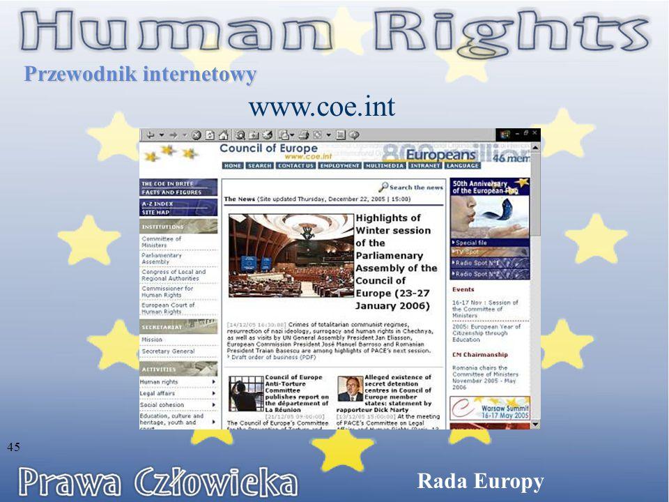 Przewodnik internetowy www.coe.int Rada Europy 45