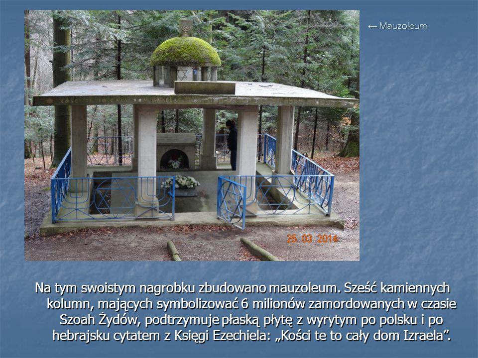 Na tym swoistym nagrobku zbudowano mauzoleum. Sześć kamiennych kolumn, mających symbolizować 6 milionów zamordowanych w czasie Szoah Żydów, podtrzymuj