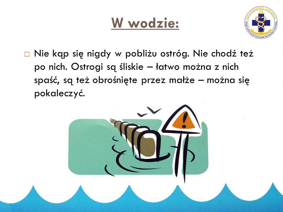 Zanim wejdziesz do wody:  Kąp się zawsze pod okiem osób dorosłych najlepiej na strzeżonych plażach;  Przed wejściem do wody sprawdź czy można się ką