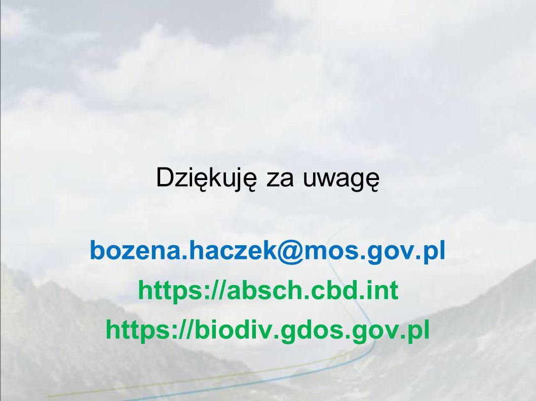 Dziękuję za uwagę bozena.haczek@mos.gov.pl https://absch.cbd.int https://biodiv.gdos.gov.pl
