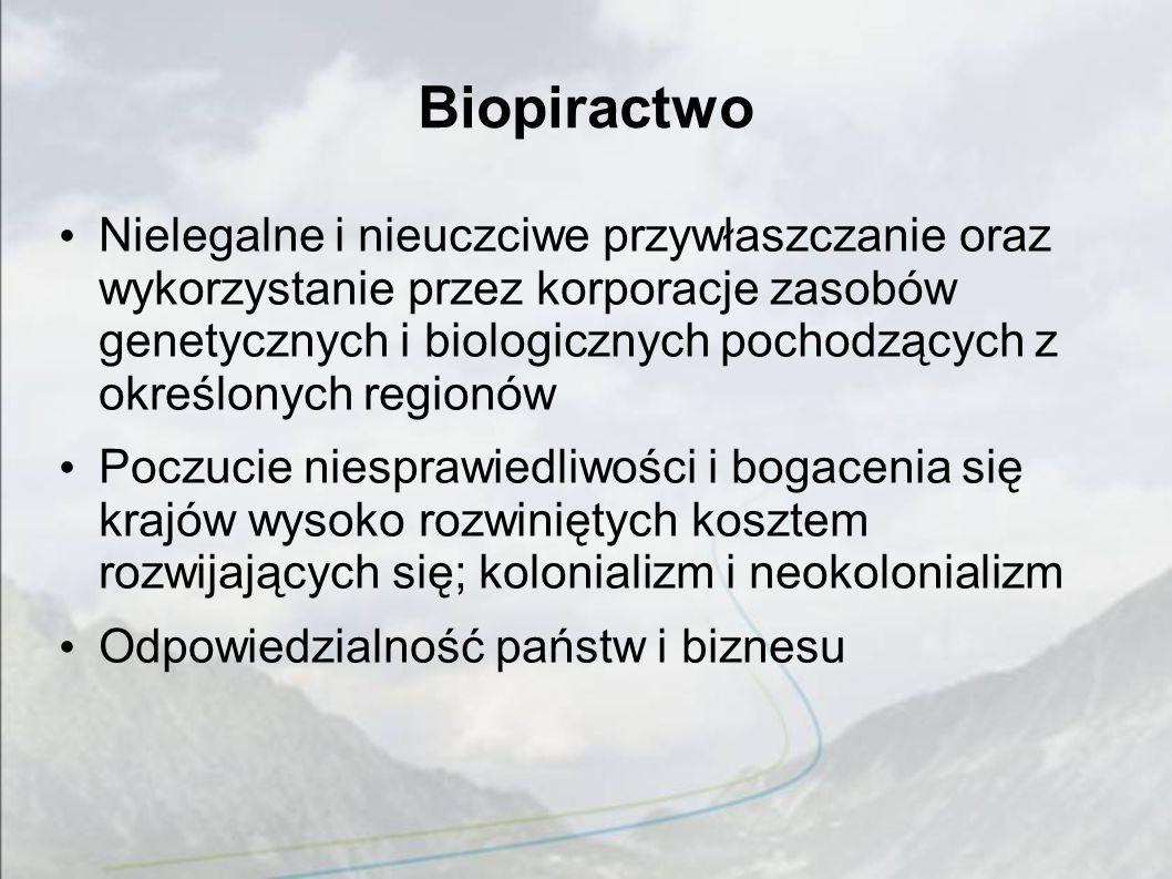 Biopiractwo Nielegalne i nieuczciwe przywłaszczanie oraz wykorzystanie przez korporacje zasobów genetycznych i biologicznych pochodzących z określonyc