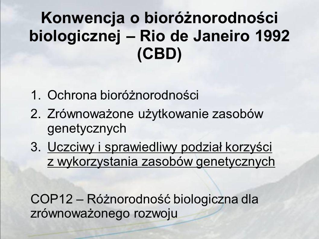 Konwencja o bioróżnorodności biologicznej – Rio de Janeiro 1992 (CBD) 1.Ochrona bioróżnorodności 2.Zrównoważone użytkowanie zasobów genetycznych 3.Uczciwy i sprawiedliwy podział korzyści z wykorzystania zasobów genetycznych COP12 – Różnorodność biologiczna dla zrównoważonego rozwoju