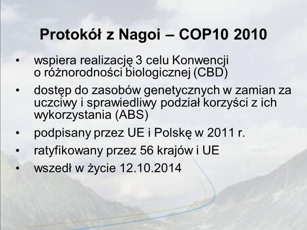 Protokół z Nagoi – COP10 2010 wspiera realizację 3 celu Konwencji o różnorodności biologicznej (CBD) dostęp do zasobów genetycznych w zamian za uczciwy i sprawiedliwy podział korzyści z ich wykorzystania (ABS) podpisany przez UE i Polskę w 2011 r.