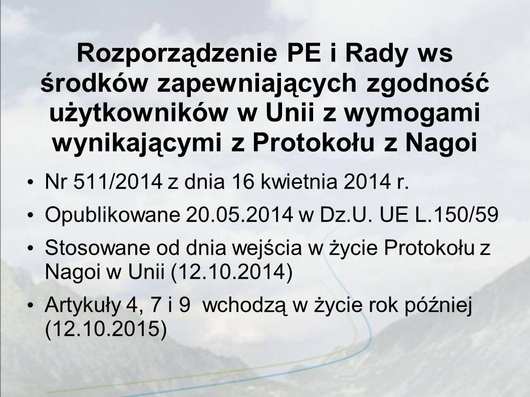 Rozporządzenie PE i Rady ws środków zapewniających zgodność użytkowników w Unii z wymogami wynikającymi z Protokołu z Nagoi Nr 511/2014 z dnia 16 kwietnia 2014 r.