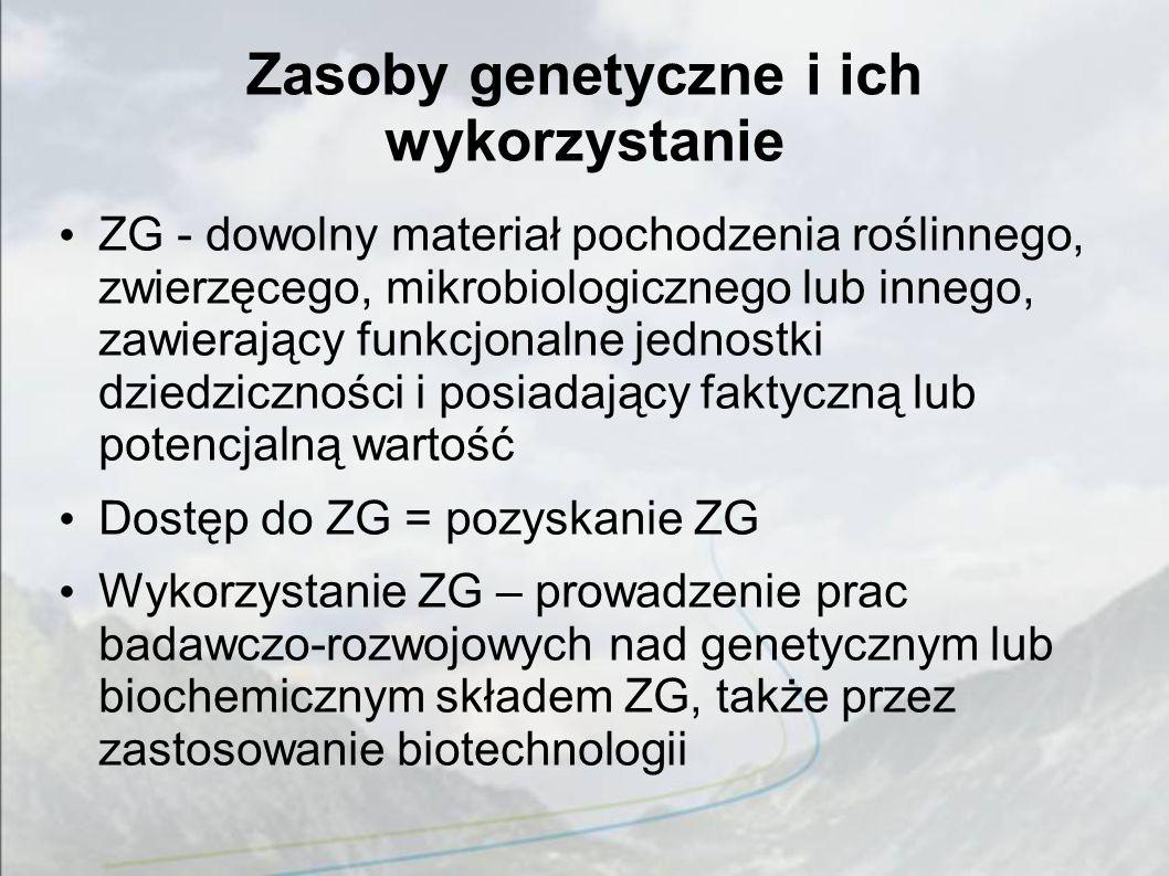 Zasoby genetyczne i ich wykorzystanie ZG - dowolny materiał pochodzenia roślinnego, zwierzęcego, mikrobiologicznego lub innego, zawierający funkcjonalne jednostki dziedziczności i posiadający faktyczną lub potencjalną wartość Dostęp do ZG = pozyskanie ZG Wykorzystanie ZG – prowadzenie prac badawczo-rozwojowych nad genetycznym lub biochemicznym składem ZG, także przez zastosowanie biotechnologii