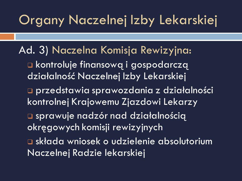 Organy Naczelnej Izby Lekarskiej Ad. 3) Naczelna Komisja Rewizyjna:  kontroluje finansową i gospodarczą działalność Naczelnej Izby Lekarskiej  przed