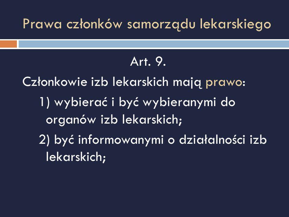 Prawa członków samorządu lekarskiego Art. 9. Członkowie izb lekarskich mają prawo: 1) wybierać i być wybieranymi do organów izb lekarskich; 2) być inf