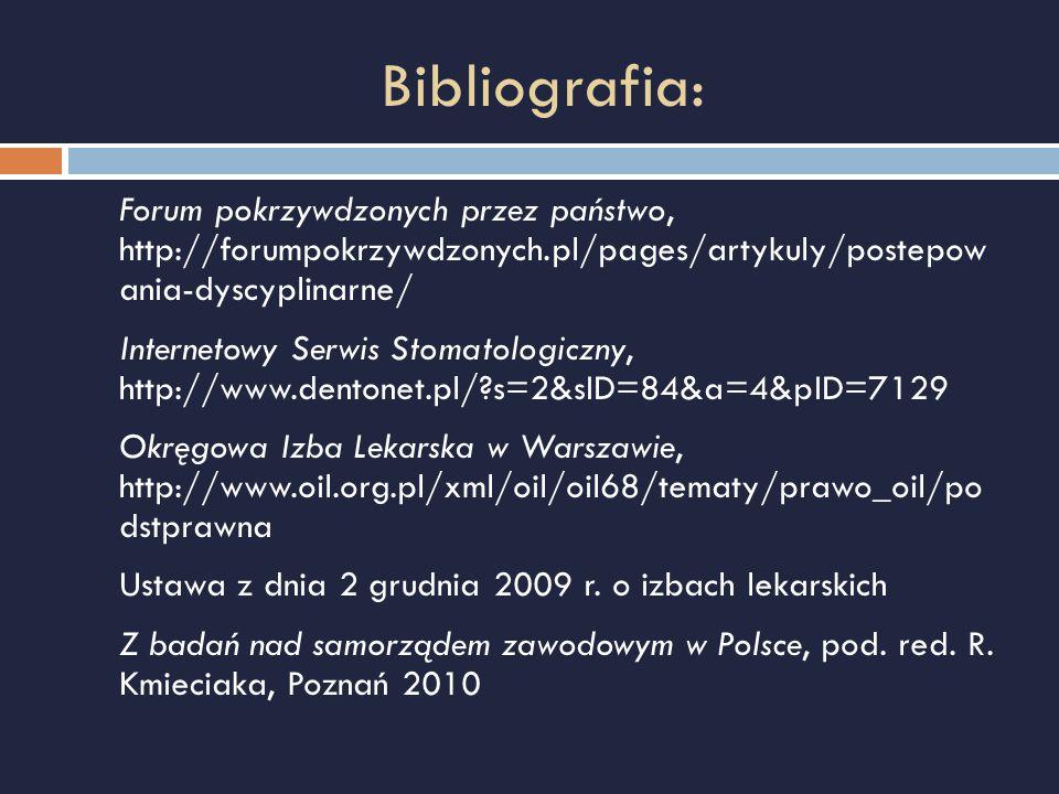 Bibliografia: Forum pokrzywdzonych przez państwo, http://forumpokrzywdzonych.pl/pages/artykuly/postepow ania-dyscyplinarne/ Internetowy Serwis Stomato
