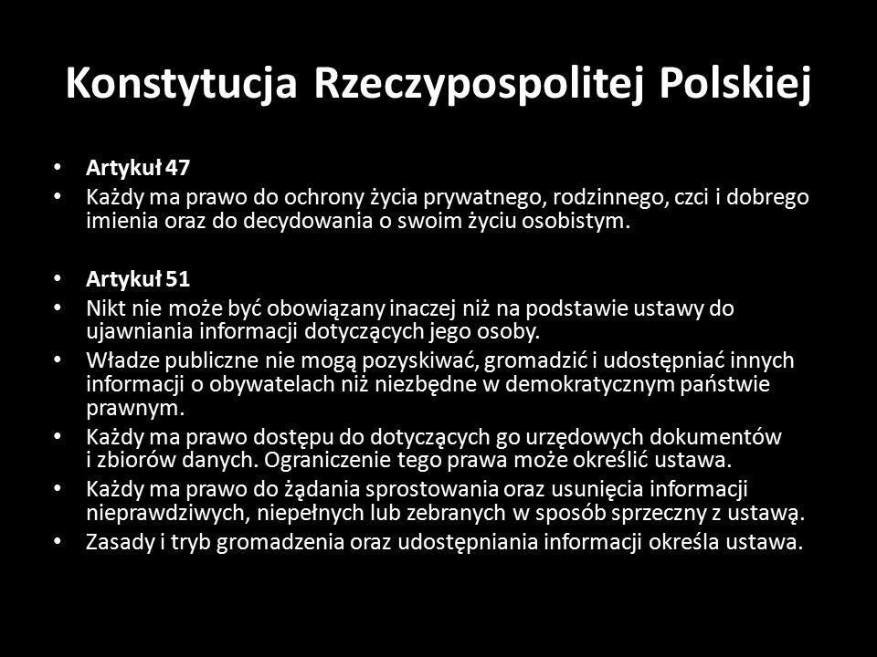 Konstytucja Rzeczypospolitej Polskiej Artykuł 47 Każdy ma prawo do ochrony życia prywatnego, rodzinnego, czci i dobrego imienia oraz do decydowania o swoim życiu osobistym.