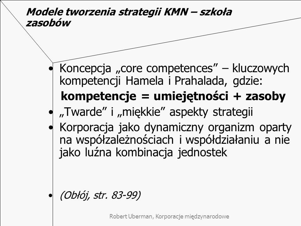 """Modele tworzenia strategii KMN – szkoła zasobów Koncepcja """"core competences – kluczowych kompetencji Hamela i Prahalada, gdzie: kompetencje = umiejętności + zasoby """"Twarde i """"miękkie aspekty strategii Korporacja jako dynamiczny organizm oparty na współzależnościach i współdziałaniu a nie jako luźna kombinacja jednostek (Obłój, str."""