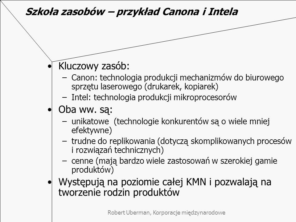 Robert Uberman, Korporacje międzynarodowe Szkoła zasobów – przykład Canona i Intela Kluczowy zasób: –Canon: technologia produkcji mechanizmów do biurowego sprzętu laserowego (drukarek, kopiarek) –Intel: technologia produkcji mikroprocesorów Oba ww.