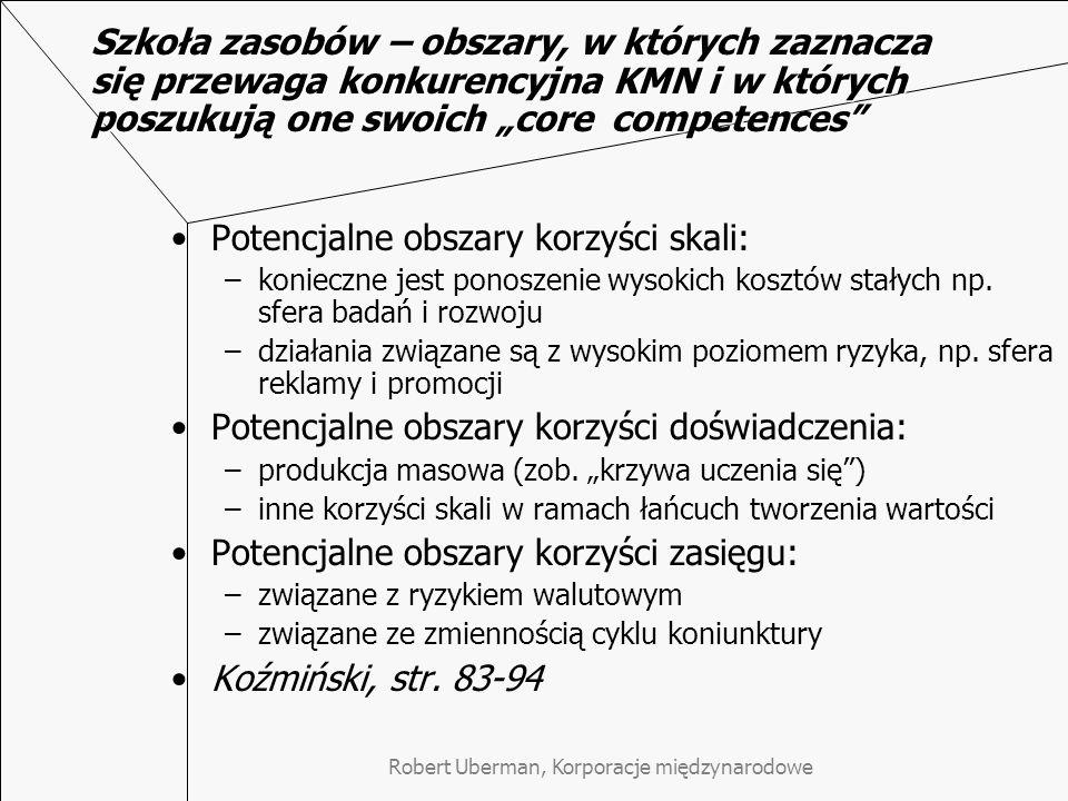 """Robert Uberman, Korporacje międzynarodowe Szkoła zasobów – obszary, w których zaznacza się przewaga konkurencyjna KMN i w których poszukują one swoich """"core competences Potencjalne obszary korzyści skali: –konieczne jest ponoszenie wysokich kosztów stałych np."""