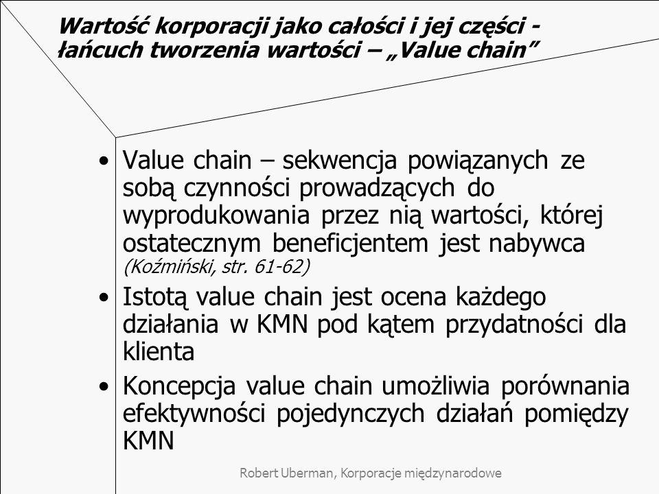 """Robert Uberman, Korporacje międzynarodowe Wartość korporacji jako całości i jej części - łańcuch tworzenia wartości – """"Value chain Value chain – sekwencja powiązanych ze sobą czynności prowadzących do wyprodukowania przez nią wartości, której ostatecznym beneficjentem jest nabywca (Koźmiński, str."""