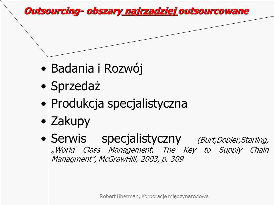 """Robert Uberman, Korporacje międzynarodowe Outsourcing- obszary najrzadziej outsourcowane Badania i Rozwój Sprzedaż Produkcja specjalistyczna Zakupy Serwis specjalistyczny (Burt,Dobler,Starling, """"World Class Management."""