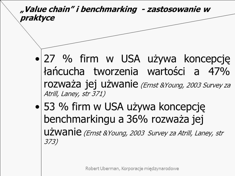 """Robert Uberman, Korporacje międzynarodowe """"Value chain i benchmarking - zastosowanie w praktyce 27 % firm w USA używa koncepcję łańcucha tworzenia wartości a 47% rozważa jej użwanie (Ernst &Young, 2003 Survey za Atrill, Laney, str 371) 53 % firm w USA używa koncepcję benchmarkingu a 36% rozważa jej użwanie (Ernst &Young, 2003 Survey za Atrill, Laney, str 373)"""