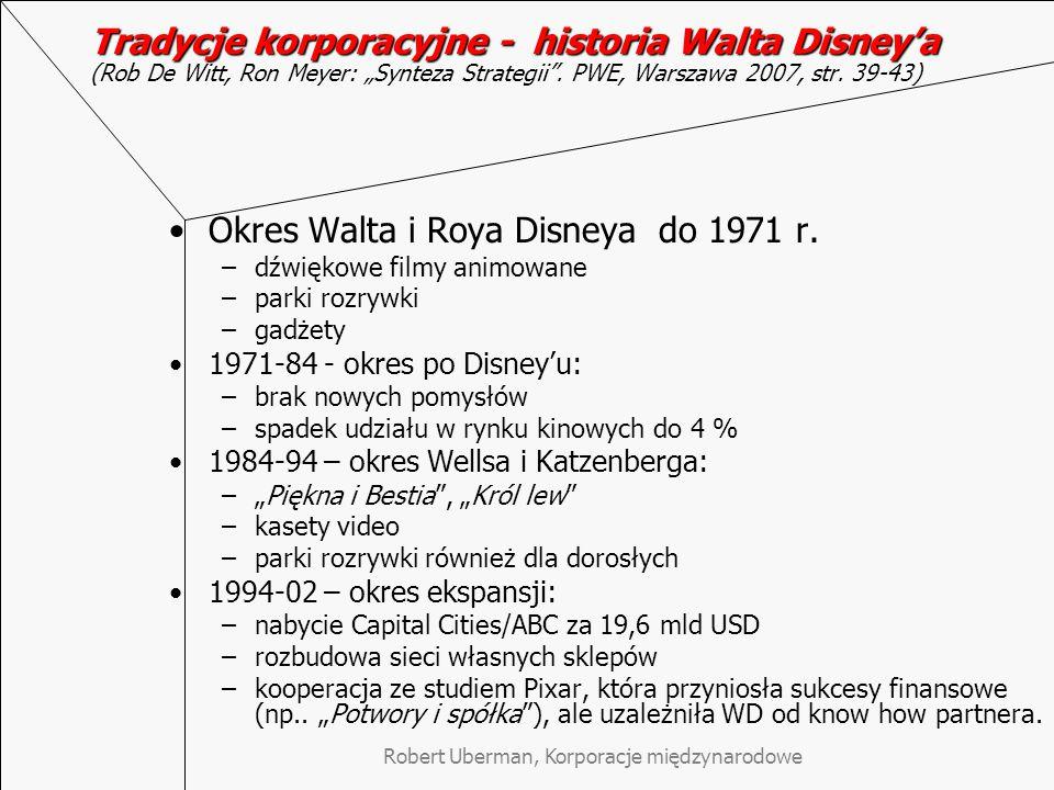 """Tradycje korporacyjne - historia Walta Disney'a Tradycje korporacyjne - historia Walta Disney'a (Rob De Witt, Ron Meyer: """"Synteza Strategii ."""