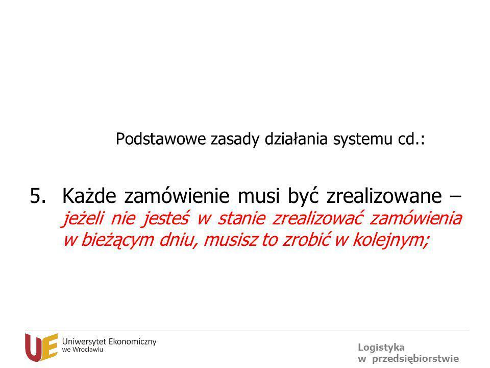 Logistyka w przedsiębiorstwie Podstawowe zasady działania systemu cd.: 5.Każde zamówienie musi być zrealizowane – jeżeli nie jesteś w stanie zrealizow