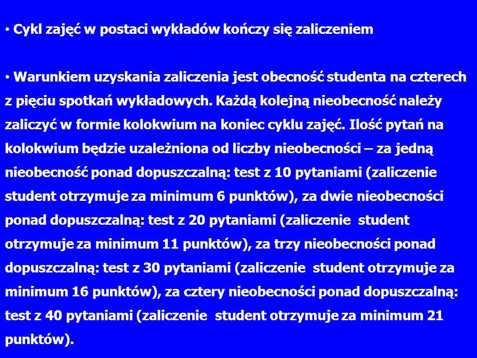 Cykl zajęć w postaci wykładów kończy się zaliczeniem Warunkiem uzyskania zaliczenia jest obecność studenta na czterech z pięciu spotkań wykładowych.