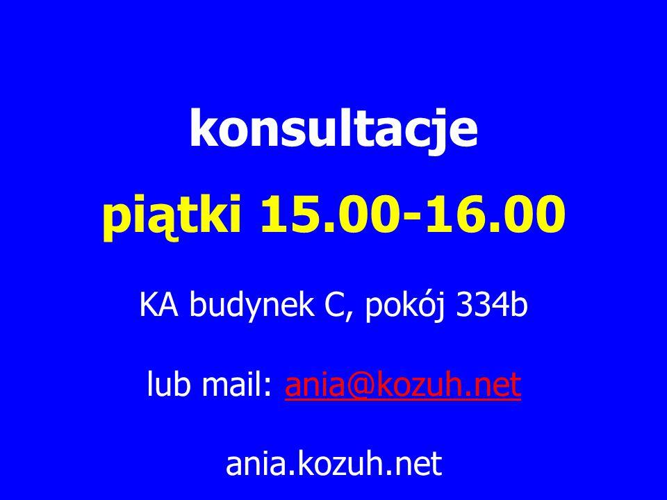 konsultacje piątki 15.00-16.00 KA budynek C, pokój 334b lub mail: ania@kozuh.netania@kozuh.net ania.kozuh.net