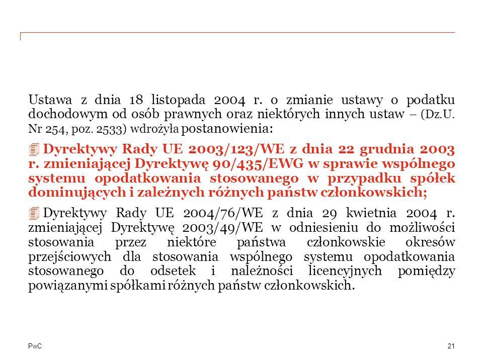 PwC Ustawa z dnia 18 listopada 2004 r. o zmianie ustawy o podatku dochodowym od osób prawnych oraz niektórych innych ustaw – (Dz.U. Nr 254, poz. 2533)