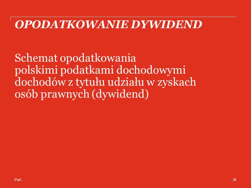 PwC OPODATKOWANIE DYWIDEND Schemat opodatkowania polskimi podatkami dochodowymi dochodów z tytułu udziału w zyskach osób prawnych (dywidend) 36
