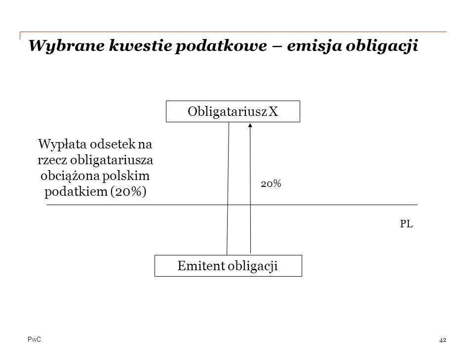 PwC Wybrane kwestie podatkowe – emisja obligacji 42 Obligatariusz X Emitent obligacji PL 20% Wypłata odsetek na rzecz obligatariusza obciążona polskim