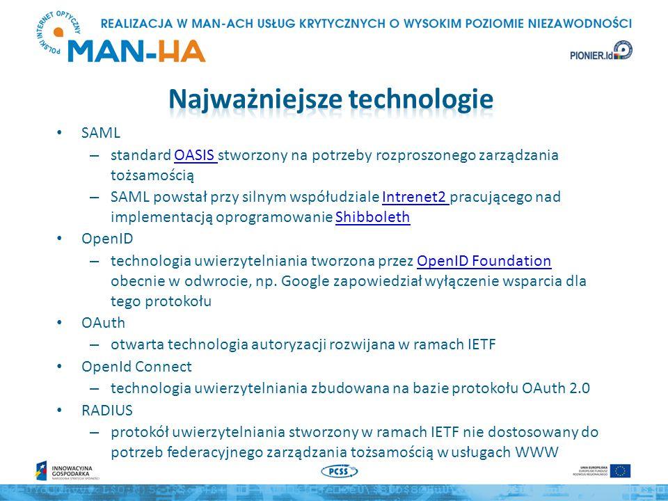 SAML – standard OASIS stworzony na potrzeby rozproszonego zarządzania tożsamościąOASIS – SAML powstał przy silnym współudziale Intrenet2 pracującego nad implementacją oprogramowanie ShibbolethIntrenet2 Shibboleth OpenID – technologia uwierzytelniania tworzona przez OpenID Foundation obecnie w odwrocie, np.