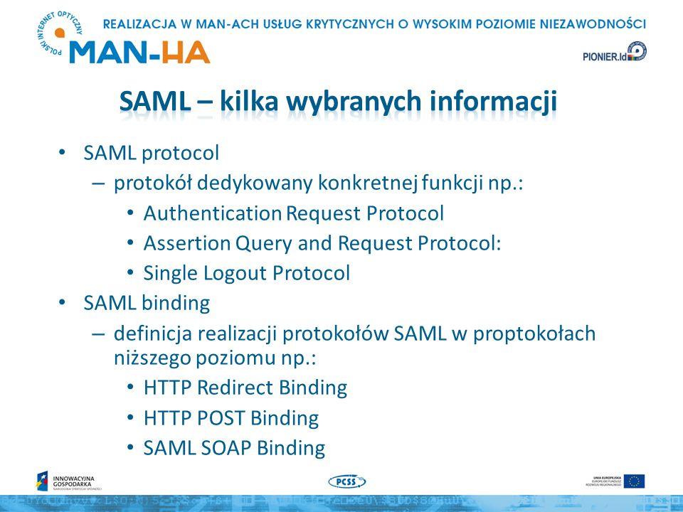 SAML protocol – protokół dedykowany konkretnej funkcji np.: Authentication Request Protocol Assertion Query and Request Protocol: Single Logout Protocol SAML binding – definicja realizacji protokołów SAML w proptokołach niższego poziomu np.: HTTP Redirect Binding HTTP POST Binding SAML SOAP Binding