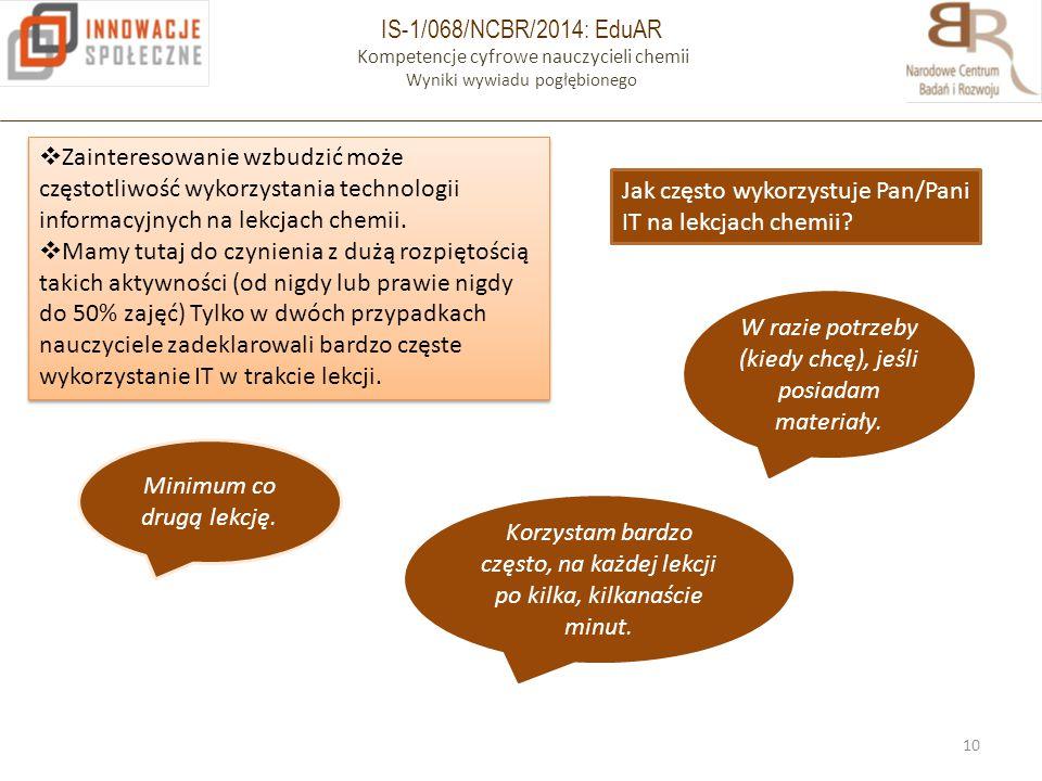 IS-1/068/NCBR/2014: EduAR Kompetencje cyfrowe nauczycieli chemii Wyniki wywiadu pogłębionego 10  Zainteresowanie wzbudzić może częstotliwość wykorzys