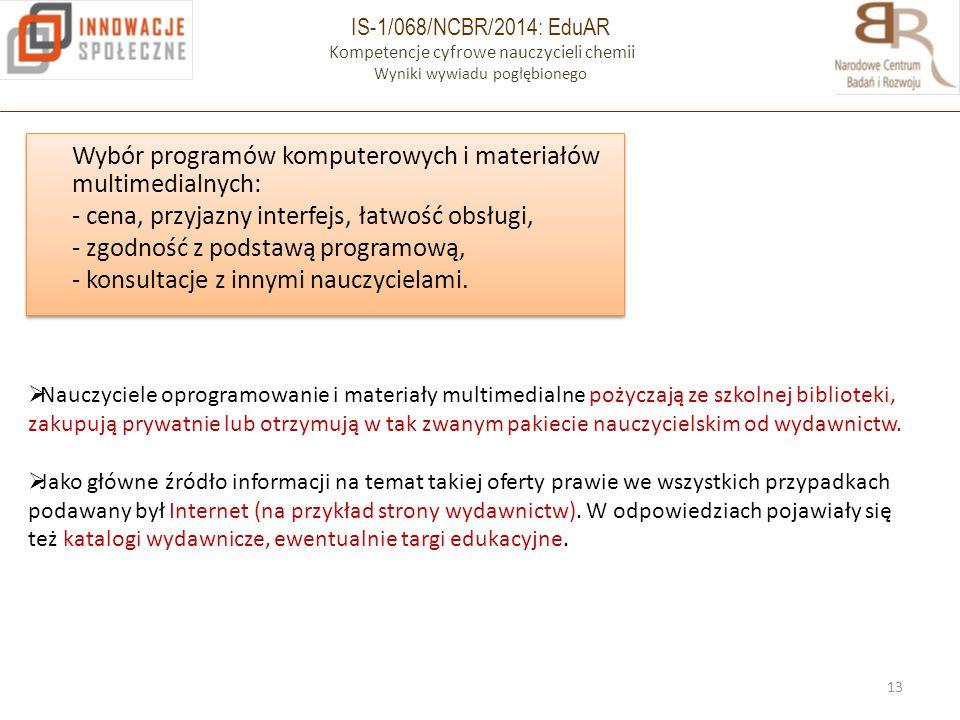 IS-1/068/NCBR/2014: EduAR Kompetencje cyfrowe nauczycieli chemii Wyniki wywiadu pogłębionego Wybór programów komputerowych i materiałów multimedialnyc