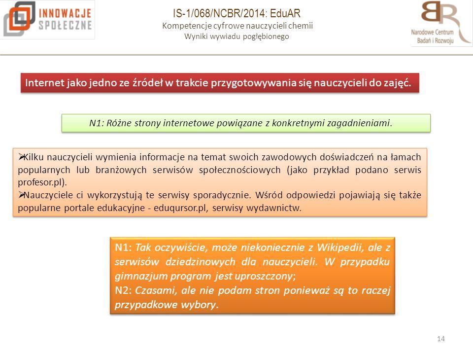 IS-1/068/NCBR/2014: EduAR Kompetencje cyfrowe nauczycieli chemii Wyniki wywiadu pogłębionego 14 Internet jako jedno ze źródeł w trakcie przygotowywania się nauczycieli do zajęć.