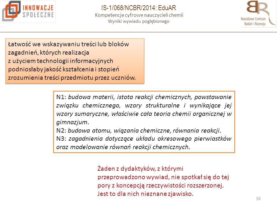 IS-1/068/NCBR/2014: EduAR Kompetencje cyfrowe nauczycieli chemii Wyniki wywiadu pogłębionego 16 Łatwość we wskazywaniu treści lub bloków zagadnień, kt