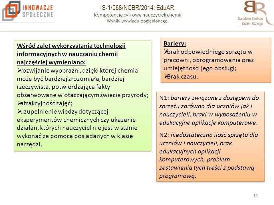 IS-1/068/NCBR/2014: EduAR Kompetencje cyfrowe nauczycieli chemii Wyniki wywiadu pogłębionego 19 Wśród zalet wykorzystania technologii informacyjnych w