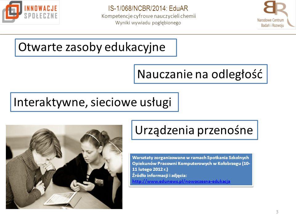 IS-1/068/NCBR/2014: EduAR Kompetencje cyfrowe nauczycieli chemii Wyniki wywiadu pogłębionego Otwarte zasoby edukacyjne 3 Nauczanie na odległość Intera