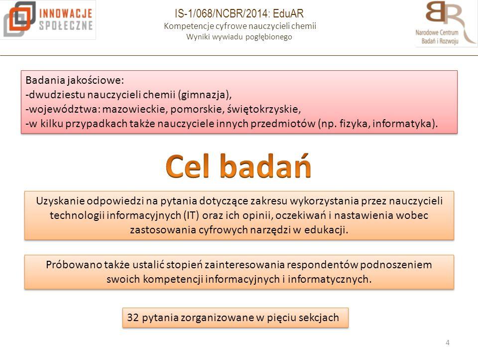 IS-1/068/NCBR/2014: EduAR Kompetencje cyfrowe nauczycieli chemii Wyniki wywiadu pogłębionego 4 Badania jakościowe: -dwudziestu nauczycieli chemii (gim