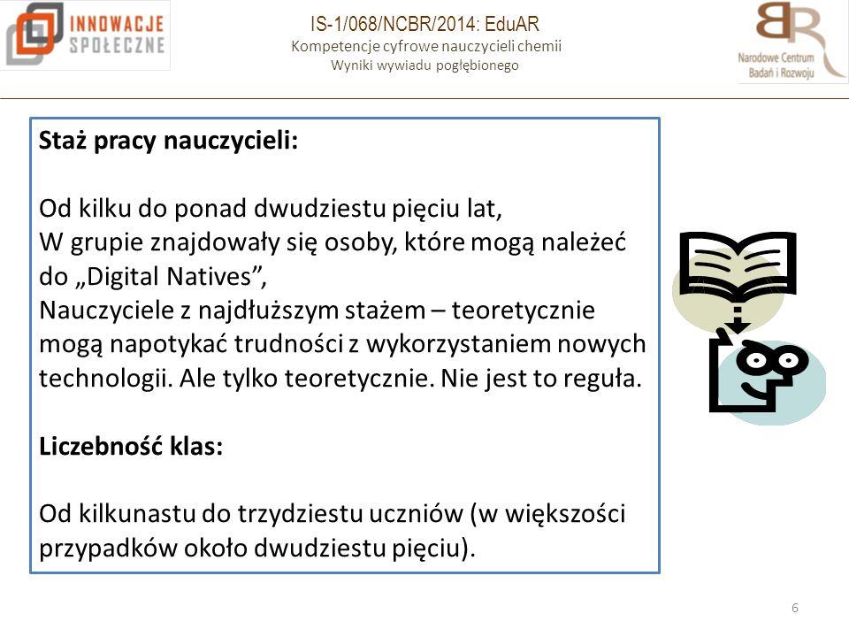 IS-1/068/NCBR/2014: EduAR Kompetencje cyfrowe nauczycieli chemii Wyniki wywiadu pogłębionego 6 Staż pracy nauczycieli: Od kilku do ponad dwudziestu pi